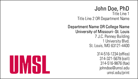 Umsl logotype business card item samplepreview colourmoves